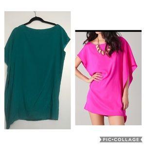 RAMY BROOK | teal silk Marcie side drape dress
